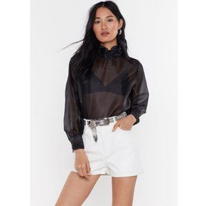 NWT NASTY GAL Black Sheer Today High Neck Blouse